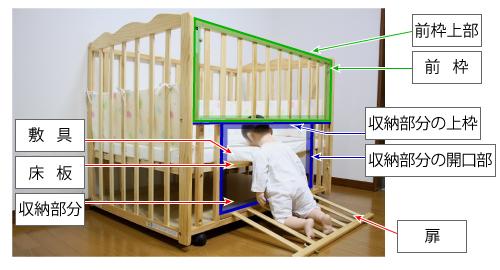 収納扉付床板調整木製ベビーベッドの収納部分の扉が開いている。敷具と収納部分の上枠の隙間から乳児ダミー人形の足から肩までがベッドの外に出ており、頭部は隙間に挟まりうつ伏せの状態になっている。